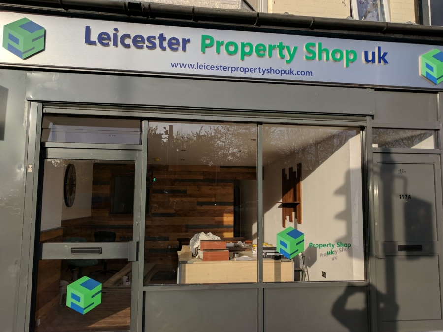 Leicester Property Shop UK estate agent signs