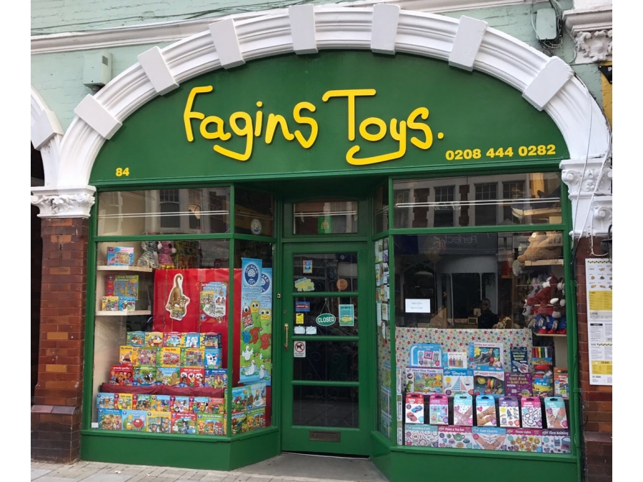 Fagans toys shop signs