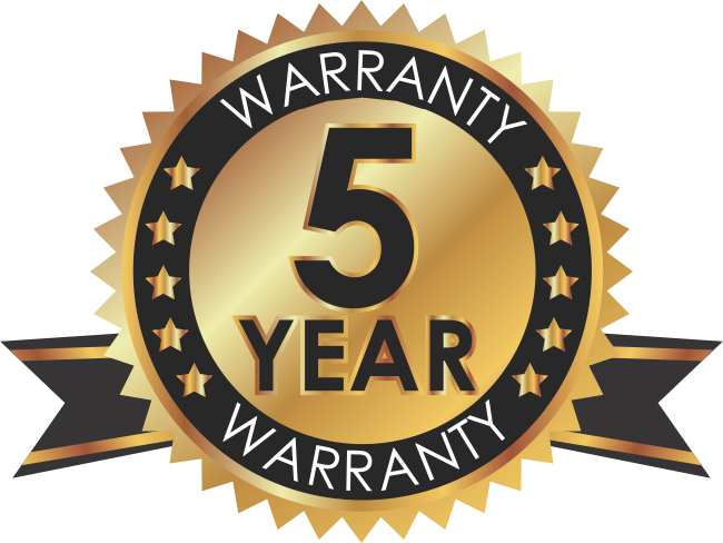 5 Year Warranty Badge