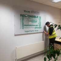 Printed wall signs, internal signs, acrylic signs, photo signs, office tech