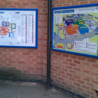 information signs, notice boards, poster cases, instruction signs, map signs